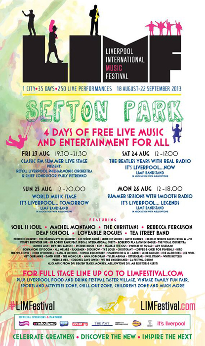 LIMF 2013: Sefton Park stage, 23-26 Aug