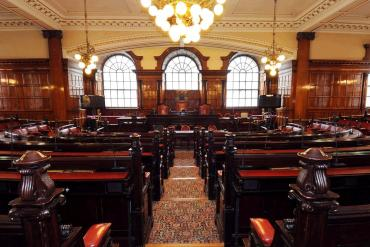 Straight ahead view of the Council Chamber at Liverpool Town Hall