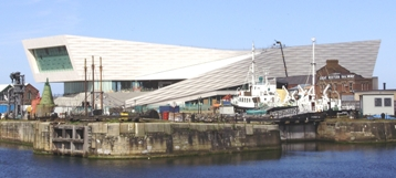 Museum of Liverpool with a boat in front