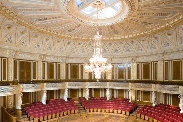 Energy saving chandelier in the small concert room of St Georges Hall
