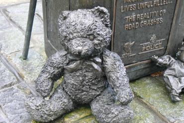 Detail from road victim memorial