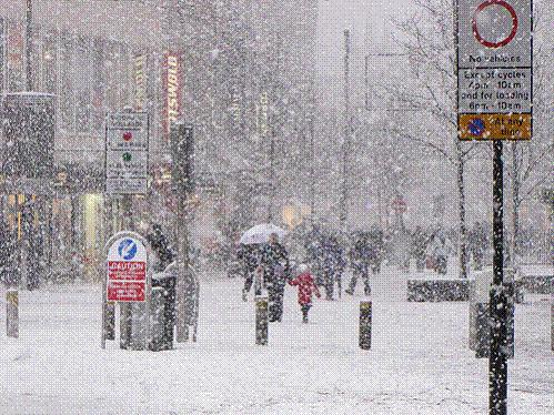 City centre in the snow