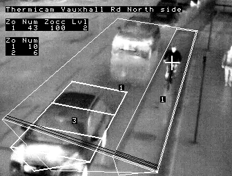 The thermal camera detects a cyclist