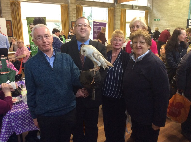 Childwall Ward Councillors Jeremy Wolfson and Ruth Hirschfield, the Reverend Robert Williams, Vicar of St David's, Anita Morris (Director / Psychologist Hack Back CIC), with local residents and Mango the owl