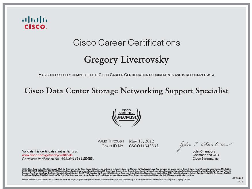 cisco data center storage network support specialist
