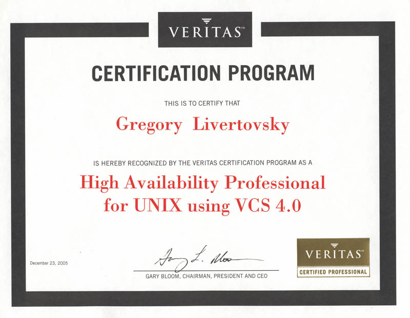 veritas high availability professional for using vcs 4 0