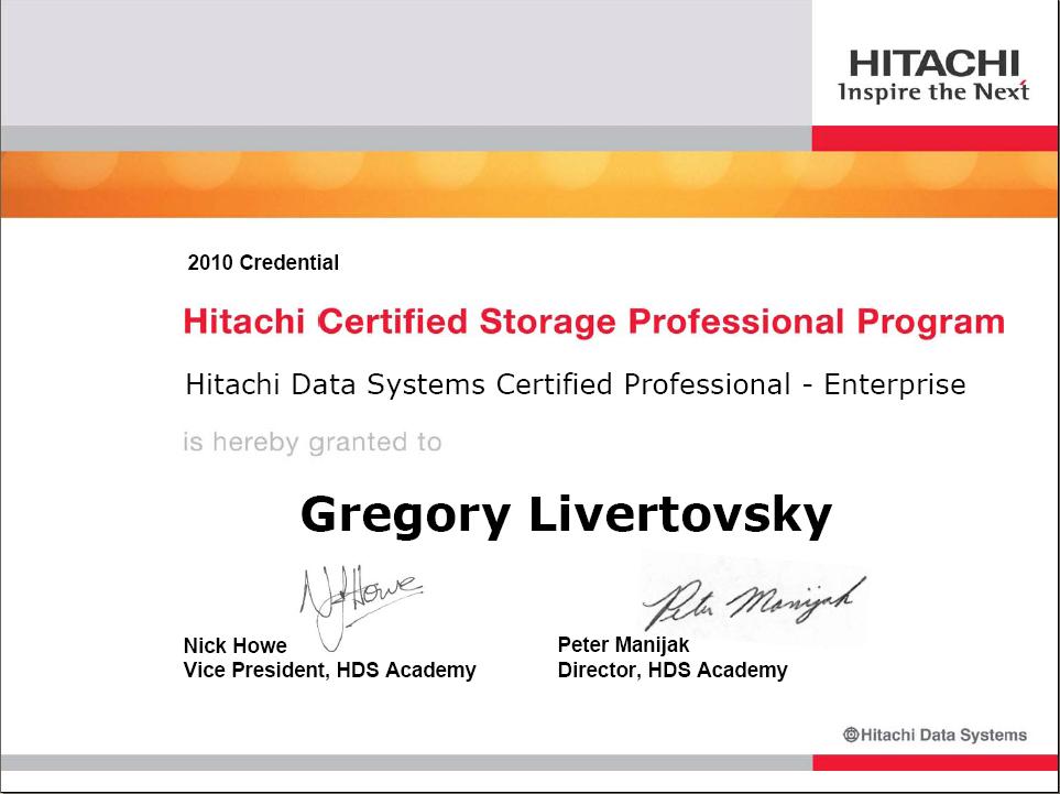 hitachi data systems certified professional enterprise
