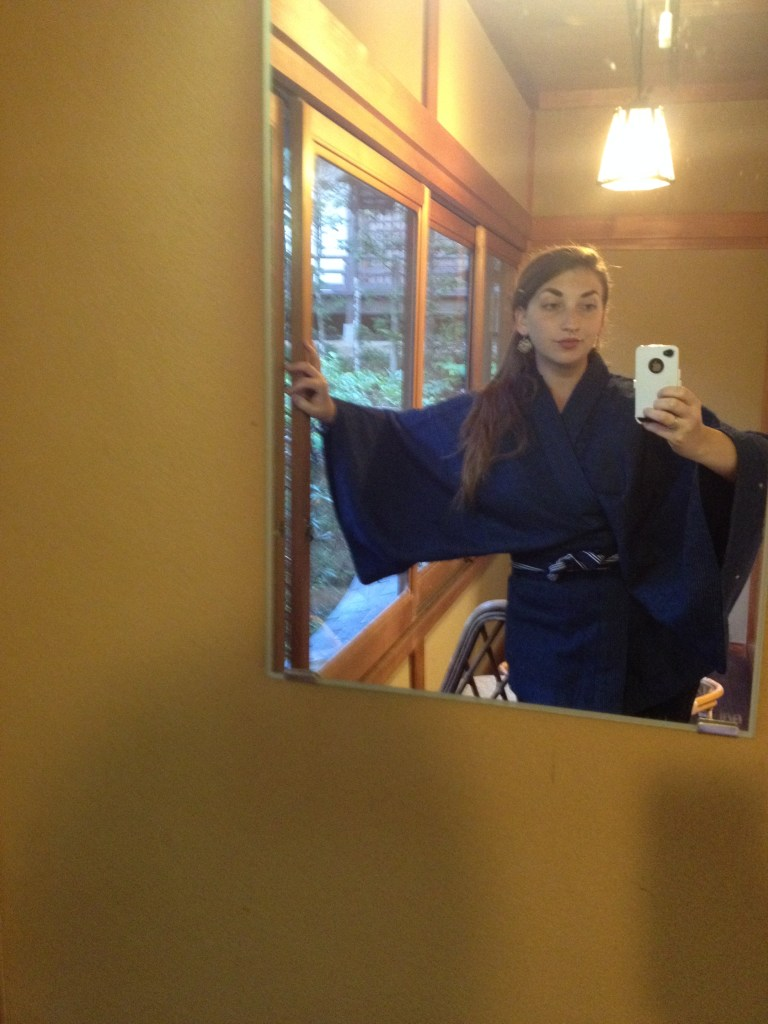 "A very poorly done ""selfie"" of my traditional Japanese robe."