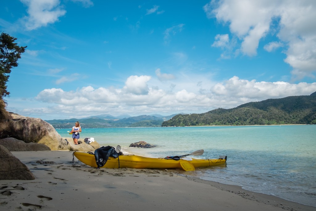 sea kayaking at abel tasman national park new zealand