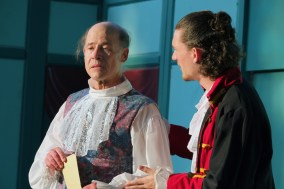 Gloucester (John Hollinger - left) and Edmund (Sam Fulton - right) discuss the king's choices.