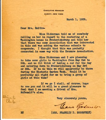 Letter from Eleanor Roosevelt inquiring about bringing a group to visit Kenmore.