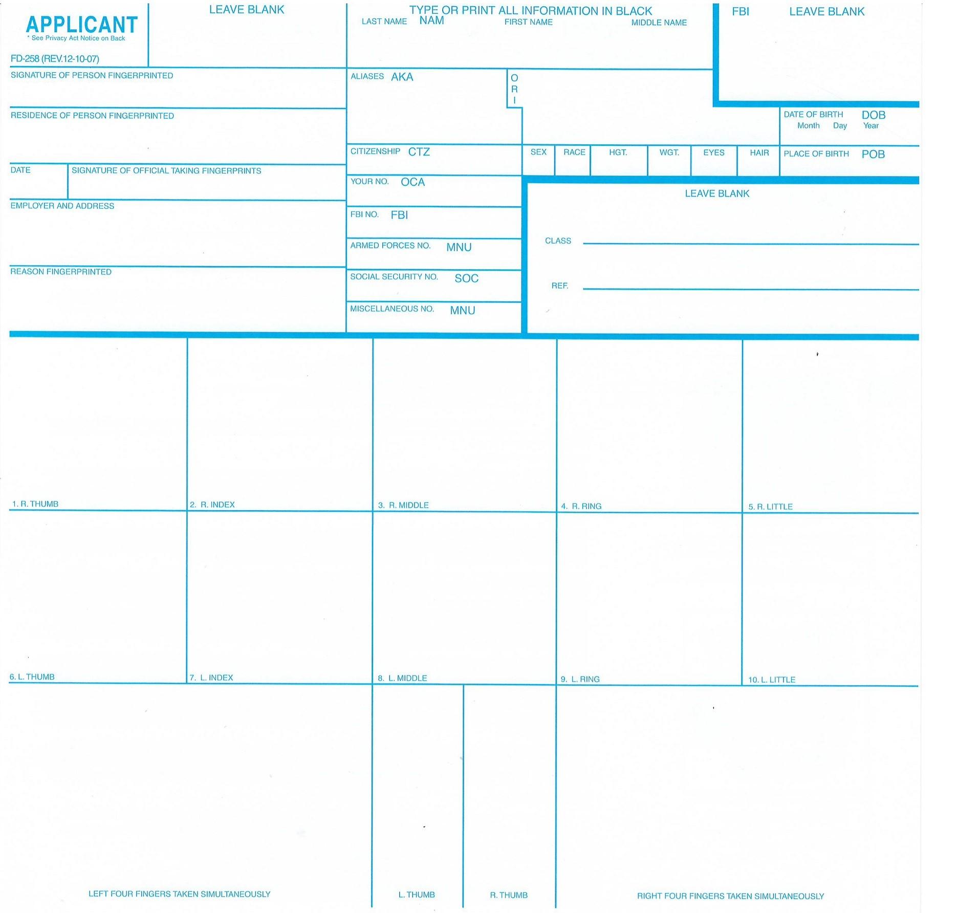 Fingerprint Cards – FBI Form FD-258, 3 Pack - LIVESCAN Fingerprinting