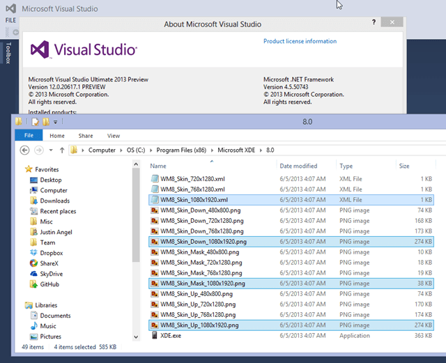 Visual Studio 2013 内含 1080p WP8 模拟器文件