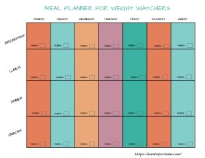 Free printable meal planner for weight watchers.