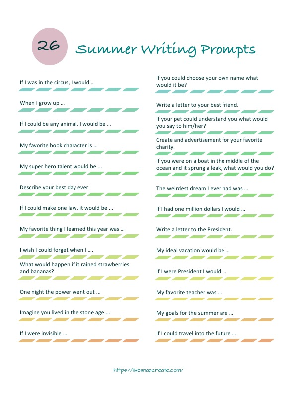 Summer writing prompts to prevent summer learning loss