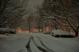 Snowy night time scene