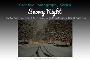 Text: Creative Photography Series: Learn how to capture beautiful snow nights with your DSLR camera.