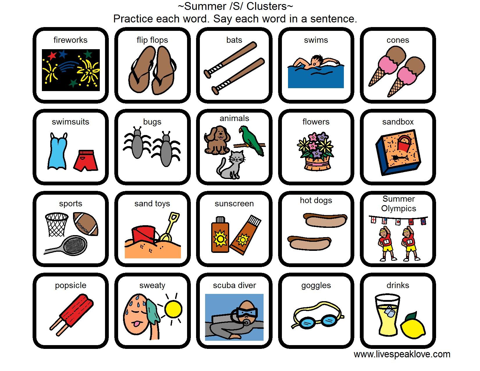 Summer Speech Language Activities