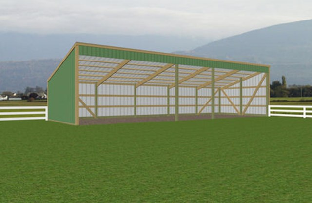 Open sided, single slope roof shed