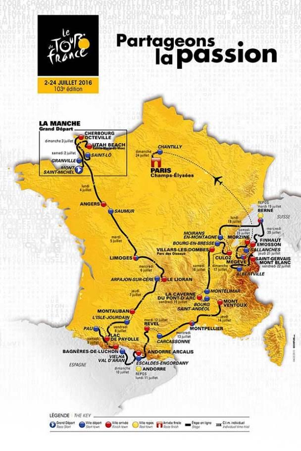 Celková mapa Tour de France 2016