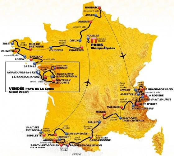 Tour de France 2018 - celkova mapa pretekov