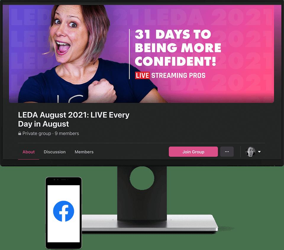 LEDA Facebook Group on screen