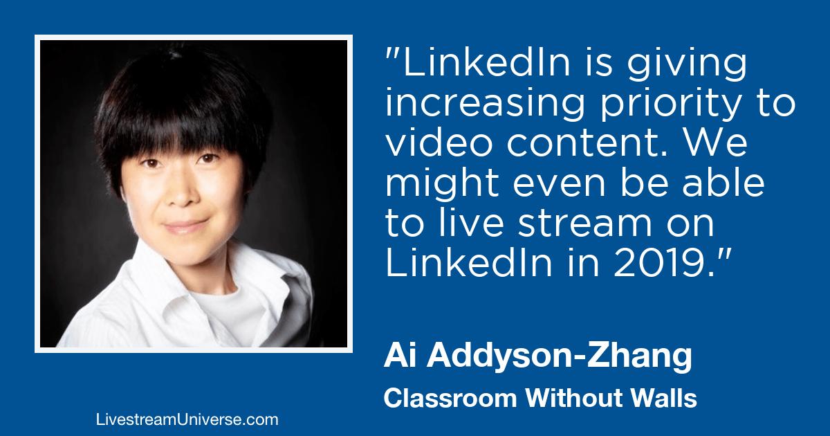ai addyson zhang 2019 prediction livestream universe