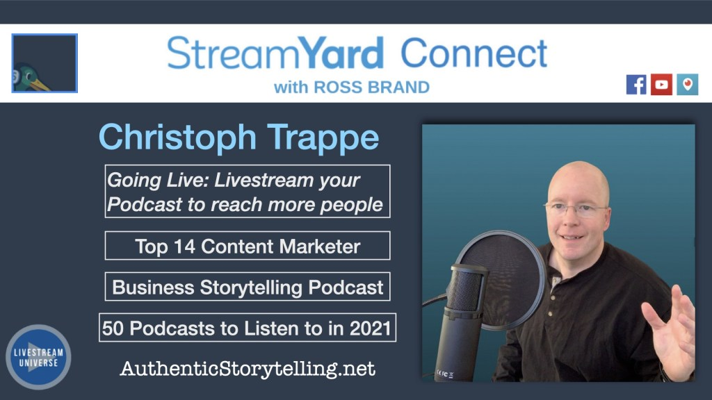 Ep62 Christoph Trappe Bio StreamYard Connect with Ross Brand