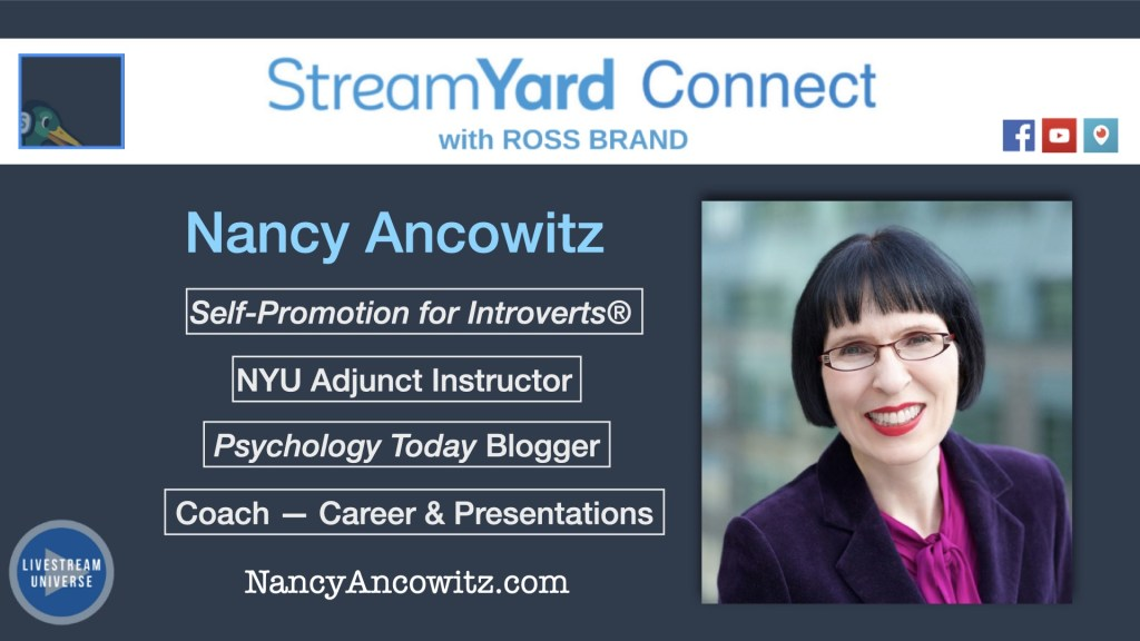 Quiet panel ep 61 nancy ancowitz streamyard connect with ross brand