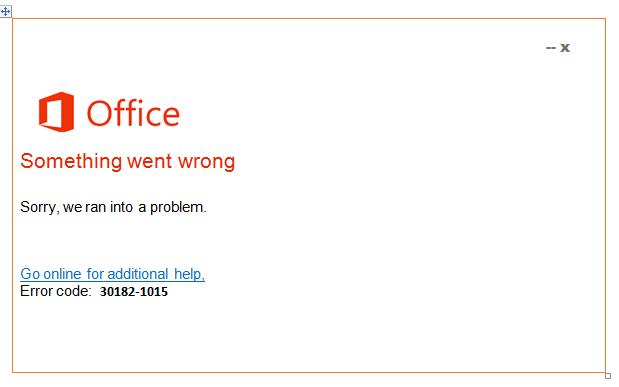 Error 30182-1015