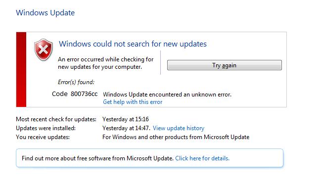 Error code 800736cc