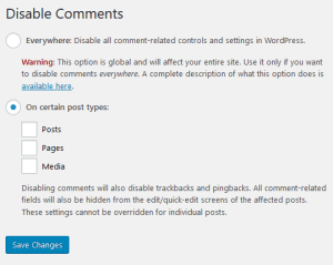 Disable Comments in WordPress using plugin