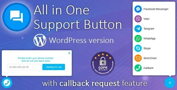 Download All in One Support Button v1.8.7 Premium Contact Us Plugin