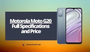 Motorola Moto G20 Full Specifications and Price