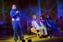 L-R Joe Caffrey, Riley Jones, Victoria Bewick and Tracy Whitwell in Cooking with Elvis by Lee Hall. Photo Keith Pattison