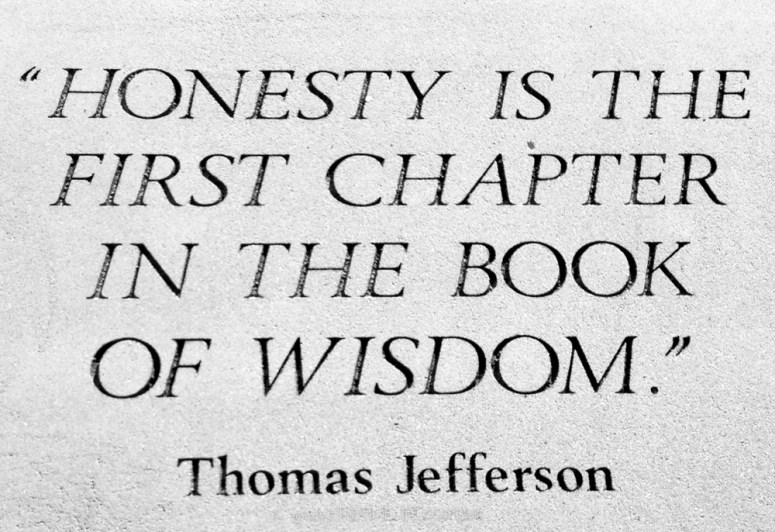 First Chapter, Thomas Jefferson's quote on wisdom.