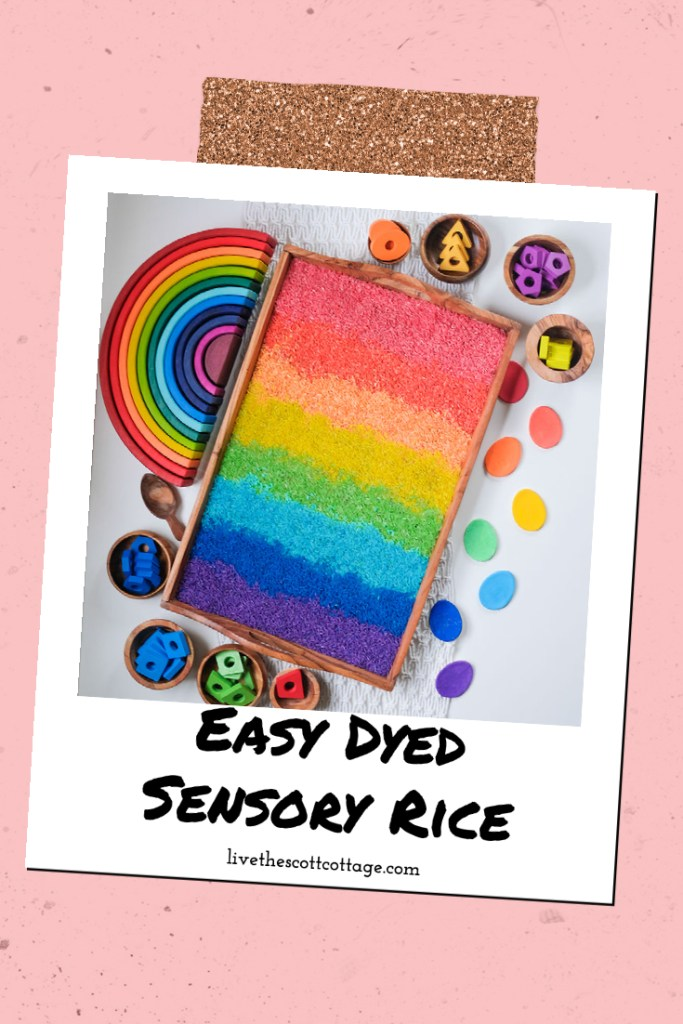 Easy Dyed Sensory Rice livethescottcottage.com