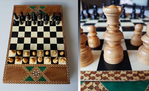 Här syns ett schackbräde som visar upp spelets kontraster mellan svart och vitt.