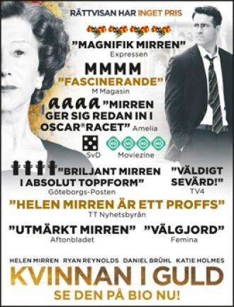 Bild som visar bioannonsen för filmen Kvinnan i guld.