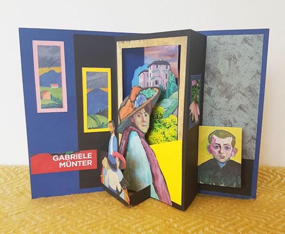 Ett pop-up-kort med tema Gabriele Münter.
