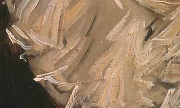 En detaljbild som visar konstnärens penselföring i Malle Babbes krage.