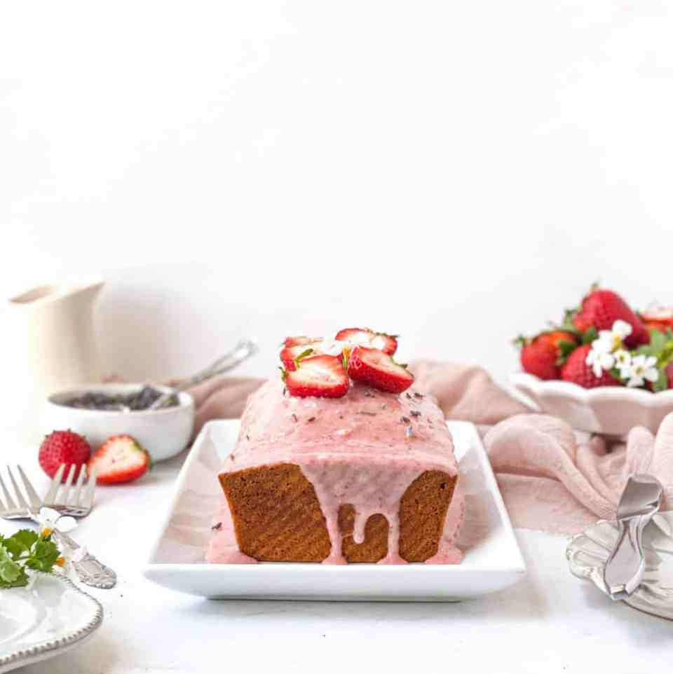 Strawberry Lavender Pound Cake