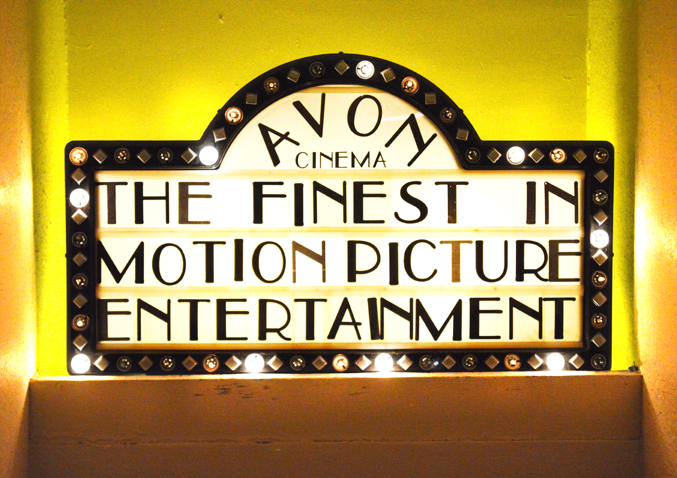 Avon Cinema: A vintage marquee style sign lights the staircase - LTABBLOG