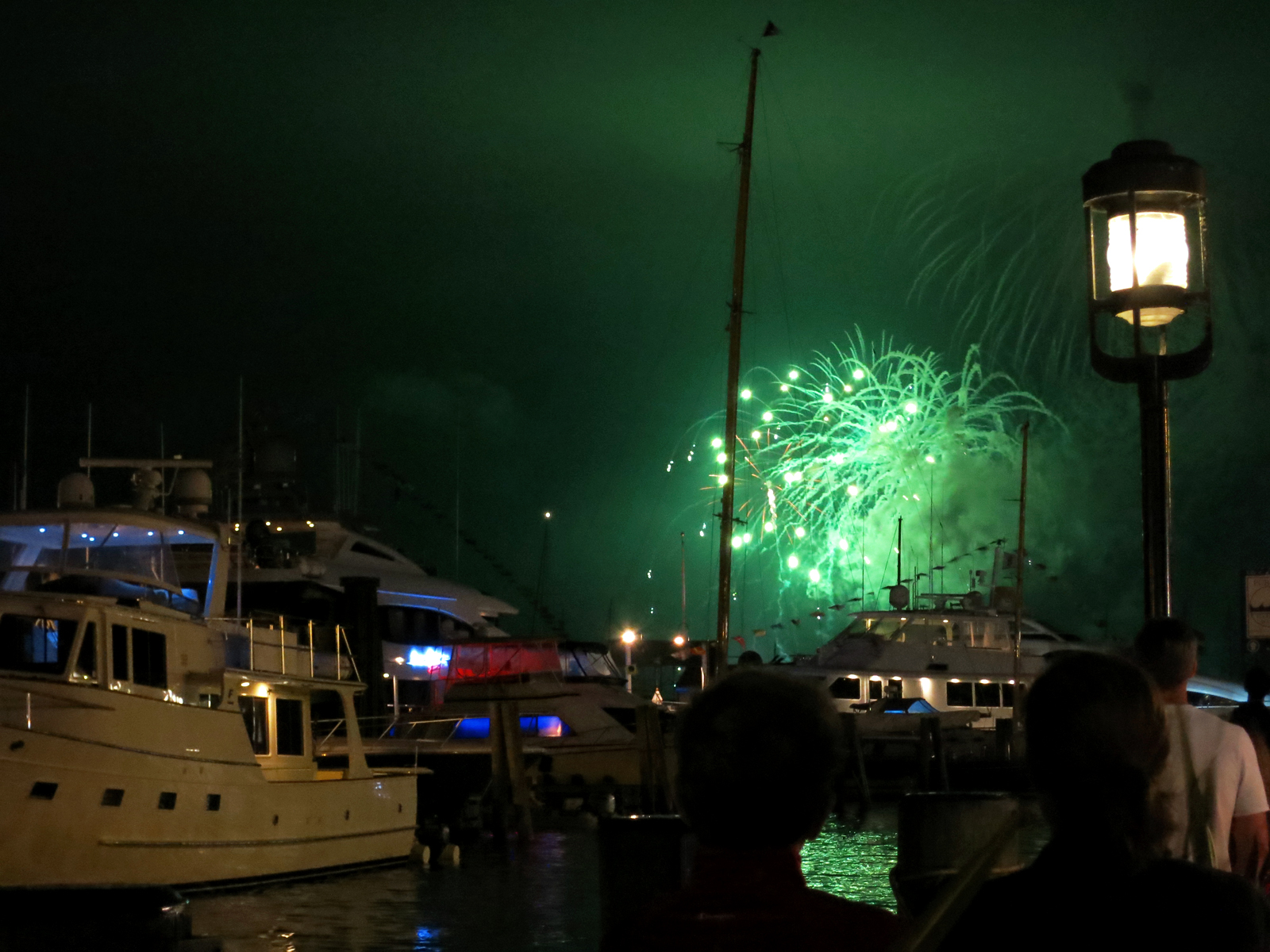 ROCKET'S RED GLARE OVER NEWPORT HARBOR - live. travel. adventure. bless. | Bright green firework exploding over the yachts in Newport Harbor during the 4th of July fireworks display in Newport, RI. Happy 4th of July!