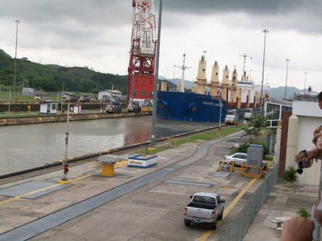 Boat going through the Miraflores Locks of the Panama Canal