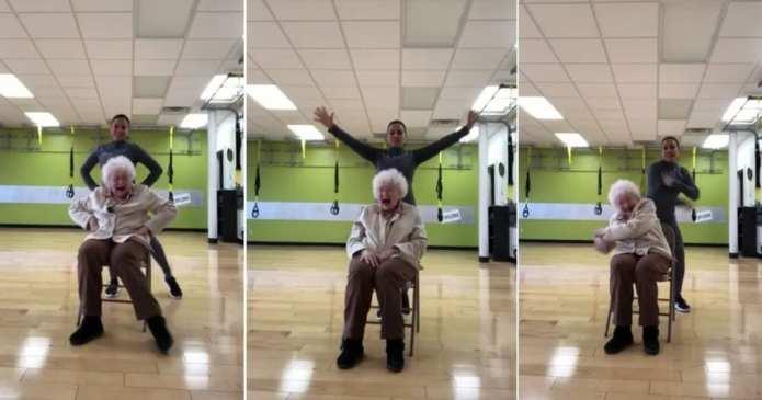 O doamnă de 93 de ani şi râsul ei molipsitor în timp ce-şi face exerciţiile fizice au devenit virale!
