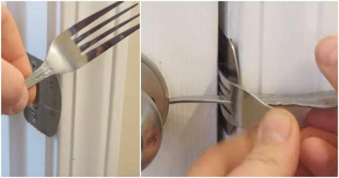 Cum să faceţi o încuietoare eficientă pentru uşă dintr-o furculiţă