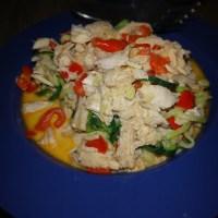Squash pasta med kylling og flødeost