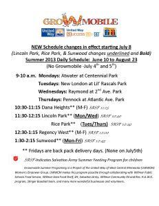REVISED summer schedule 2013