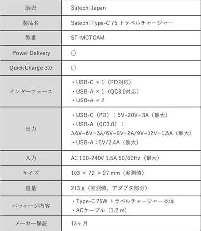 Satechi USB電源アダプタの性能・スペック表